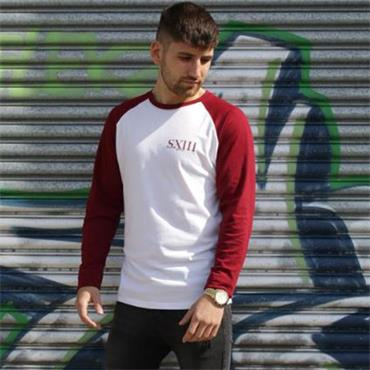 S13 Long Sleeve Tee - White / Burgundy