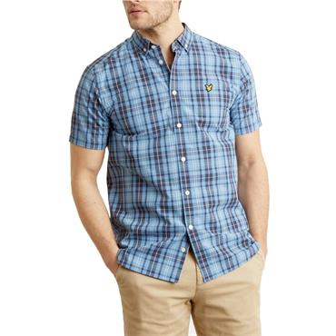 Ss Check Shirt - Cornflower Blue