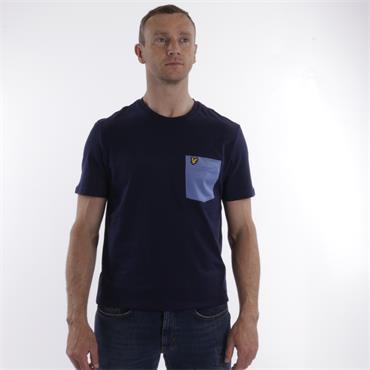Contrast Pocket T-Shirt - Navy Cornflower Blue