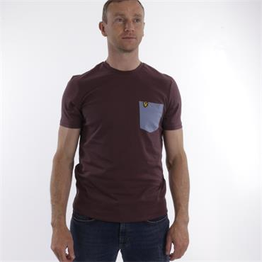 Contrast Pocket T Shirt - BERRY