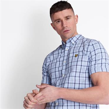 Lyle & Scott Short Sleeve Check - Pool Blue