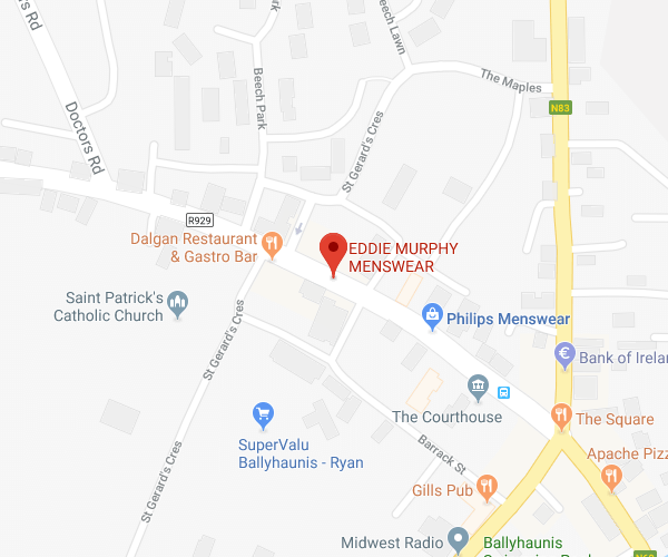 Eddie Murphy Menswear Ballyhaunis location map
