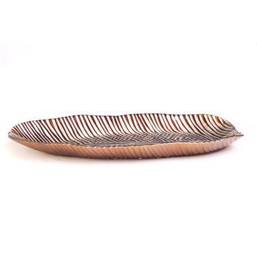 """Platter Oblong Brown & Gold 18""""x7.5"""""""