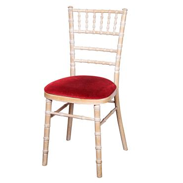 Chivari Chair Limewash with Burgundy Pad