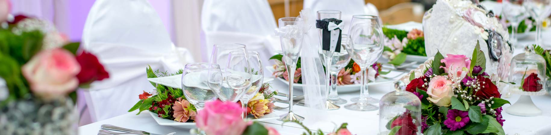 Top table for bride and groom at wedding