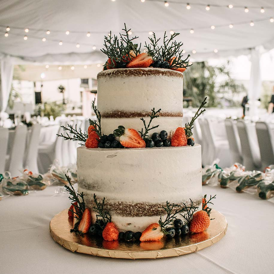 Wedding cake in a marquee