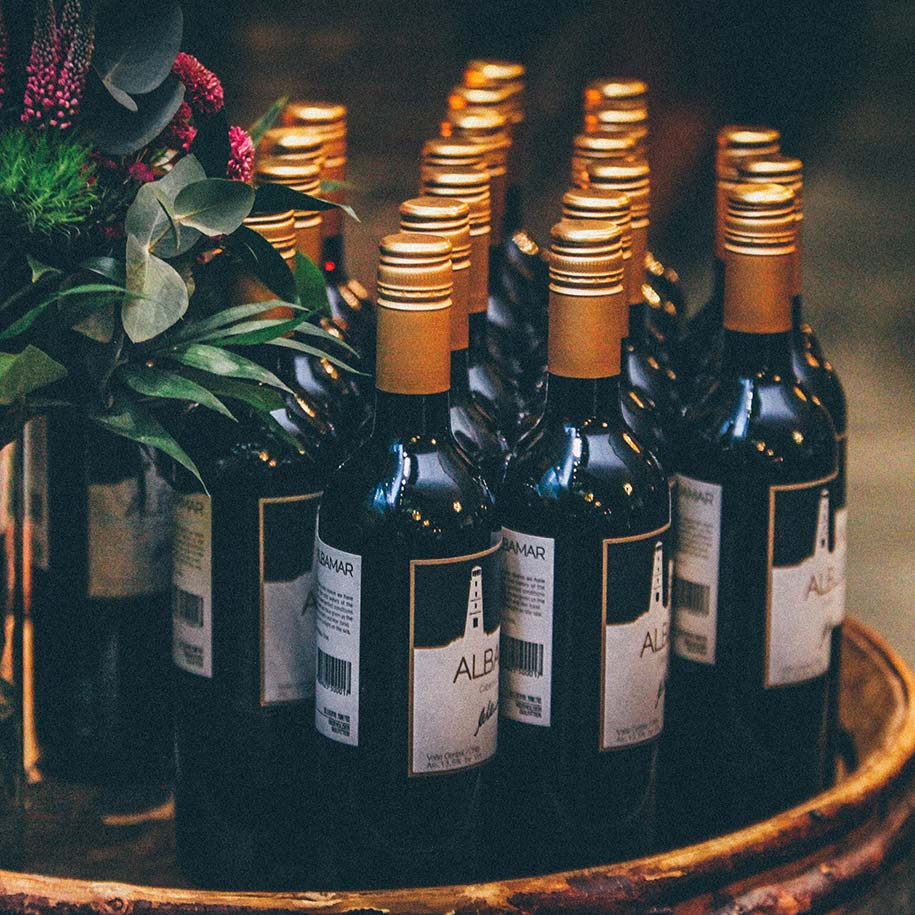Bottles of wine on a tray