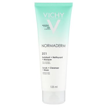 Vichy Normaderm 3in1 Scrub Mask & Cleanser 125ml