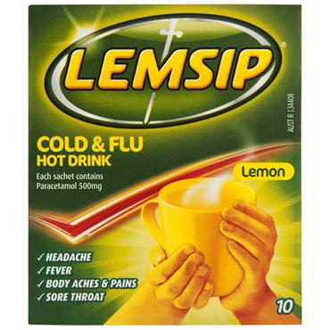 Lemsip Cold & Flu 500mg Hot Lemon 10 Pack