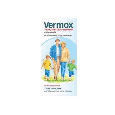 Vermox 100mg Mebendazole Threadworm Liquid 30ml