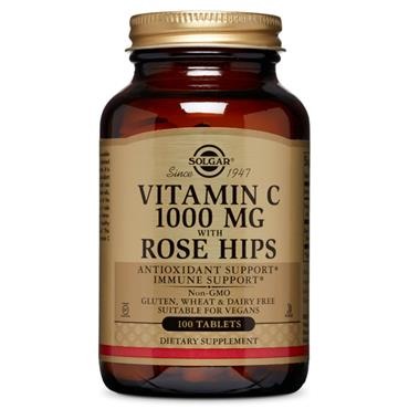 SOLGAR VITAMIN C 1000MG WITH ROSE HIPS TABS 100 E2400