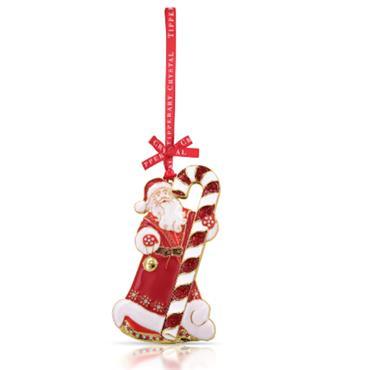 TIPPERARY CRYSTAL SPARKLE SANTA & CANDY CANE DECORATION