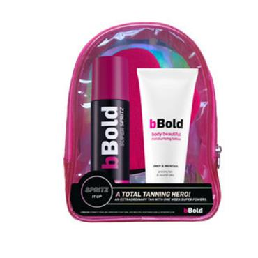 BBOLD SUPER SPRITZ DARK TAN, MOISTURISER, TAN GLOVE AND HOLDER BAG