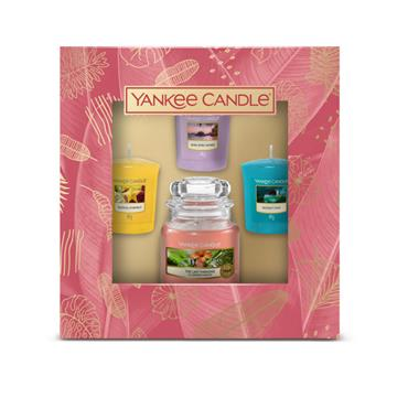 YANKEE 1 SMALL JAR & 3 VOTIVE CANDLE GIFT SET