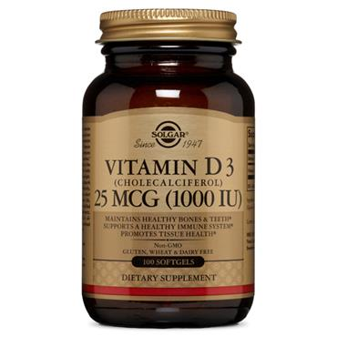 SOLGAR VITAMIN D3 1000 IU 25 UG SOFTGELS 100 softgels