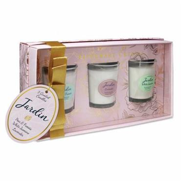 TIPPERARY JARDIN COLLECTION LAVENDER ,PEAR&FREESIA &WHITE JASMINE MINI CANDLES