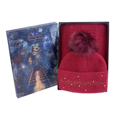 GOLD DIAMANTE & PEARL HAT & SCARF SET RED