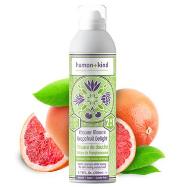 HUMAN AND KIND SHOWER MOUSSE GRAPEFRUIT DELIGHT 200ML