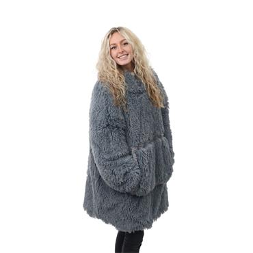 ESKIMO SHAGGY REVERSIBLE GREY HOODIE  UNISEX ONE SIZE FITS MOST