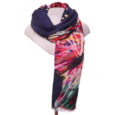 ZELLY NAVY BUTTERFLY DIGITAL LUXURY SCARF 539614