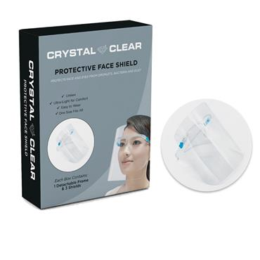 CRYSTAL CLEAR PROTECTIVE FACE SHIELDS WITH 3 DETACHABLE FRAMES