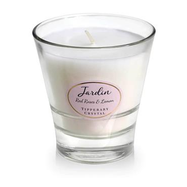 JARDIN BY TIPPERARY CRYSTAL CANDLE RED ROSES LEMON