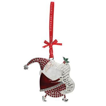 TIPPERARY CRYSTAL PEARL SANTA CHRISTMAS DECORATION