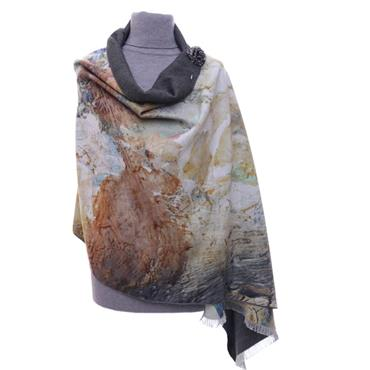 ZELLY LUXURY WRAP ABSTRACTMUSTARD SCARF