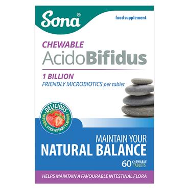 SONA ACIDOBIFIDUS CHEWABLE PROBIOTICS 60TABS