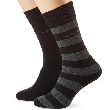 BOSS Gents Block Stripe Socks 2 pack 43-46 Black 001