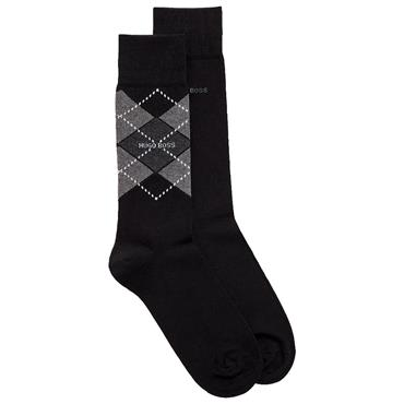 BOSS Gents Argyle Socks 2 pr 43-46 Black 001