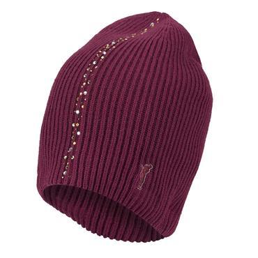 Golfino Soft Cashmere Blend Knitted Hat  with Rhinestones Merlot 381