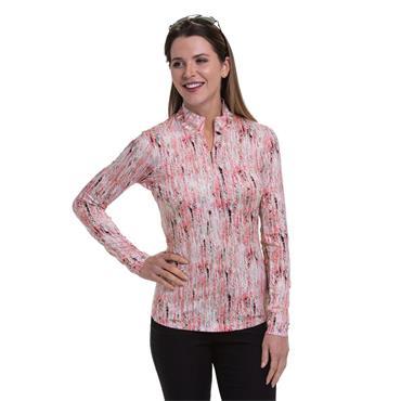 EPNY Ladies Long Sleeve Multi Textural Print Polo Shirt Coral Reef Multi