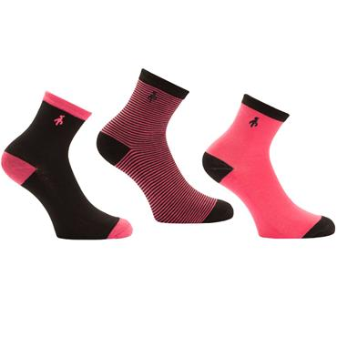 Green Lamb Ladies Helen Patterned Socks 3-Pairs  Black/Rose