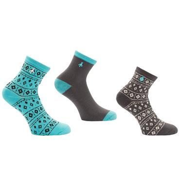 Green Lamb Ladies Hannah Patterned Socks 3-Pairs  Charcoal/Lagoon