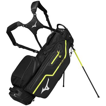 Mizuno BR DRI Waterproof Stand Bag 4Way Divide  Black/Lime