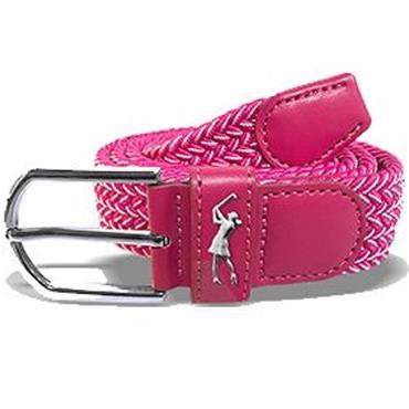 Surprizeshop Ladies Woven Golf Belt  Pink - White