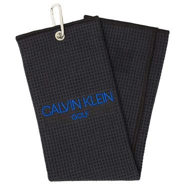 Calvin Klein Waffle Microfibre Embroidered Trifold Towel Black - Royal