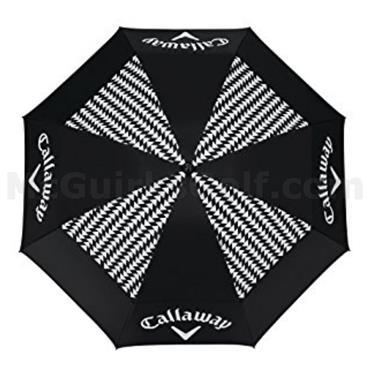 "Callaway Uptown 60"" Double Canopy Ladies Umbrella Black - White"