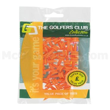 Golfers Club Collection Graduated Plastic Tees 20-Pack 6mm Orange