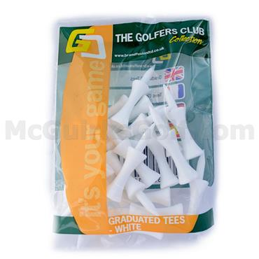 Golfers Club Collection Graduated Plastic Tees 20-Pack 31 Medium White