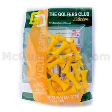 Golfers Club Collection Graduated Plastic Tees 20-Pack 25mm Yellow