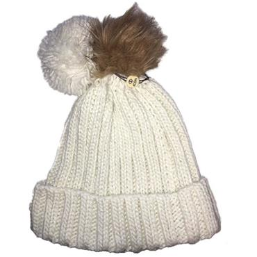 Icon Ladies PomDuo Beanie  White