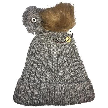 Icon Ladies PomDuo Beanie  Grey