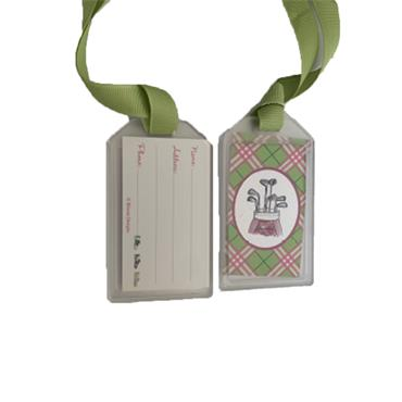 Golfers Club Collection Luggage Tags  Bag with Clubs Green Ribbon