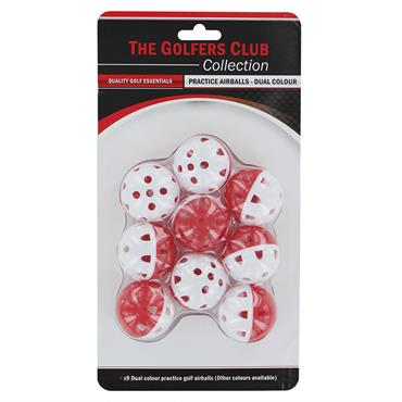 Golfers Club Collection Airflow Practice Balls 9-Pack PB03M  Red/White