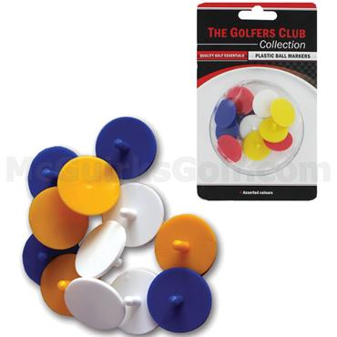 Golfers Club Collection Plastic Ball Markers 12-Pack Multicolour