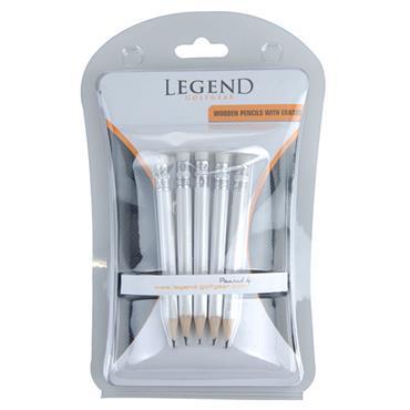 Legend Golfgear Wooden Pencils 5-Pack White