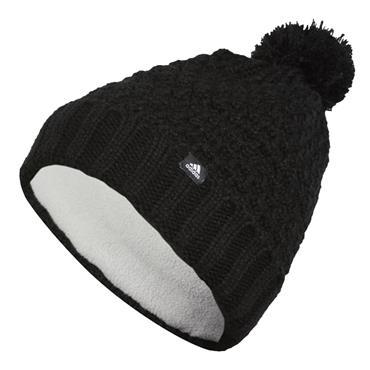 adidas Ladies Fleece Lined Pom Beanie Black
