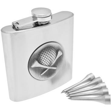 Longridge Golfers Hip Flask Set  Silver